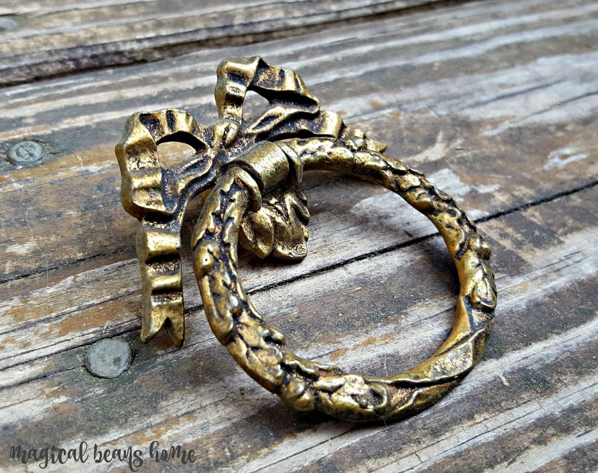 Vintage Keeler Brass Co, Large Ribbon & Bow, Wreath Ring Pull in Dark Brass - product images  of