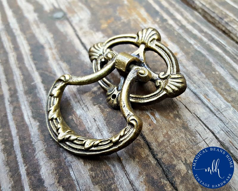 Vintage Keeler Brass Co Art Deco Ring Pulls in Solid Brass  - product images  of