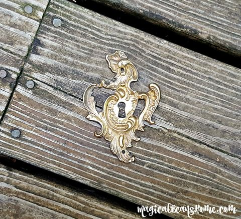 Vintage,Keeler,Brass,Co,Solid,Decorative,Back-plate,w/Keyhole,[backplate,only],vintage kbc co backplate, backplate with keyhole, brass backplate, shabby chic backplate, french provincial backplate, gold backplate