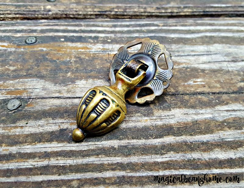 Vintage Keeler Brass Co Fancy Solid Brass Teardrop Pulls w/ Antiqued Brass Finish - product images  of