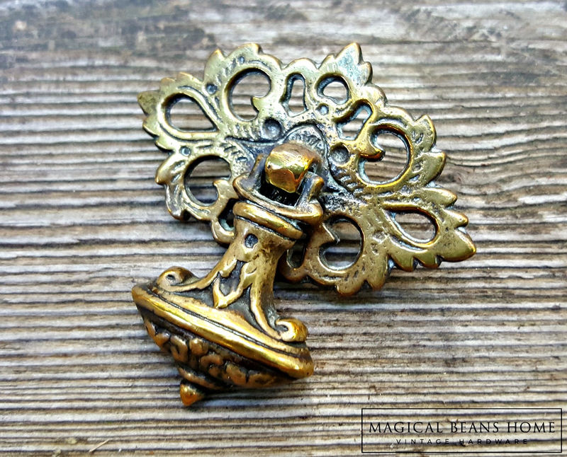 Vintage Keeler Brass Co Bell Shaped Pendant Pull in Solid Brass - product images  of
