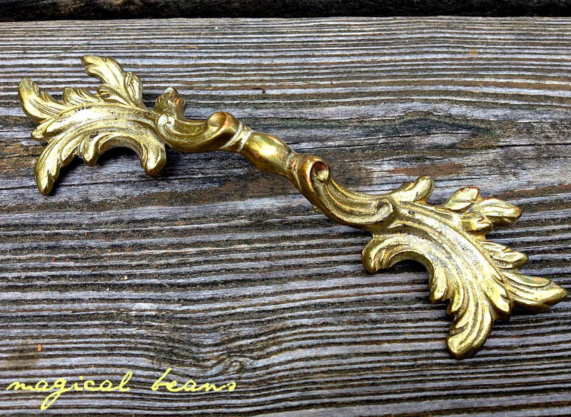 Vintage KBC French Provincial Gold Drawer Pulls in Solid Brass  - product images  of
