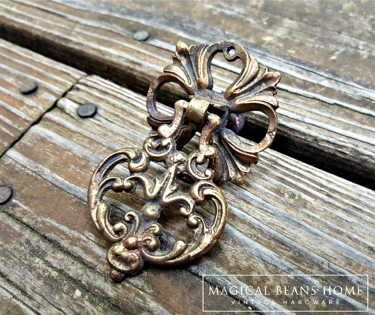 French Vintage KBC Bronze Baroque Filigree Teardrop Pull in Solid Brass - product images  of