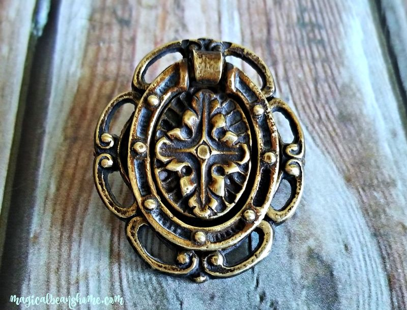 Vintage Antiqued Gold Hepplewhite Pulls in Solid Brass  - product images  of