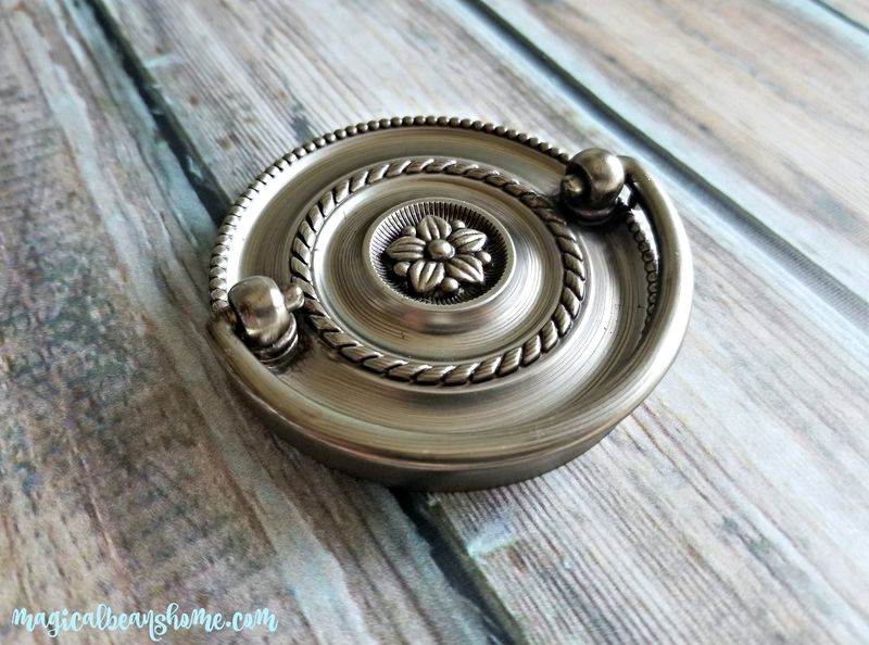 Round Beaded Multi-Ring Hepplewhite Drawer Pull in Brushed Silver  - product images  of