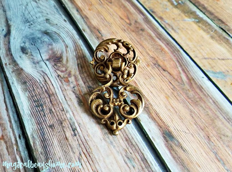 Vintage Keeler Brass Co Gold Filigree Pendant Pull in Solid Brass  - product images  of