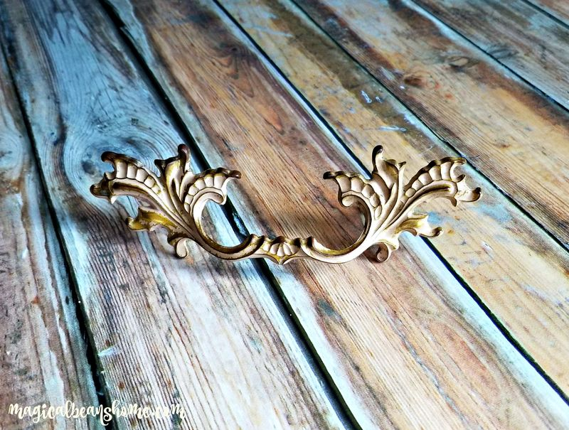 Vintage French Provincial Brass w/Cream Overlay Drawer Pull Handles  - product images  of