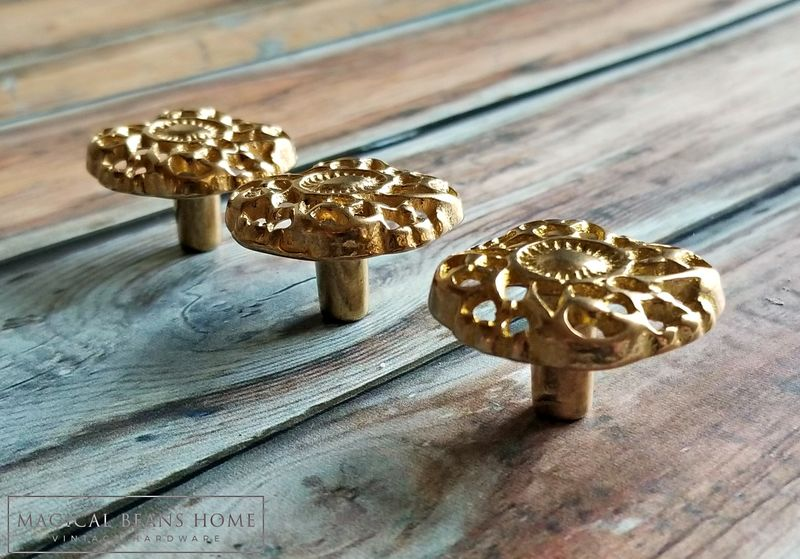 Vintage Gold Rococo Dresser Knobs in Solid Brass  - product images  of