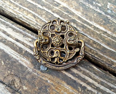 Vintage,Dark,Brass,Drop,Bail,Pulls,by,Keeler,Co,KBC Victorian Drop Bail Pulls, Vintage Brass Drawer Pull, Brass Cabinet Pulls, Decorative Antiqued Gold Drawer Pull ,Ornate Dresser Pull