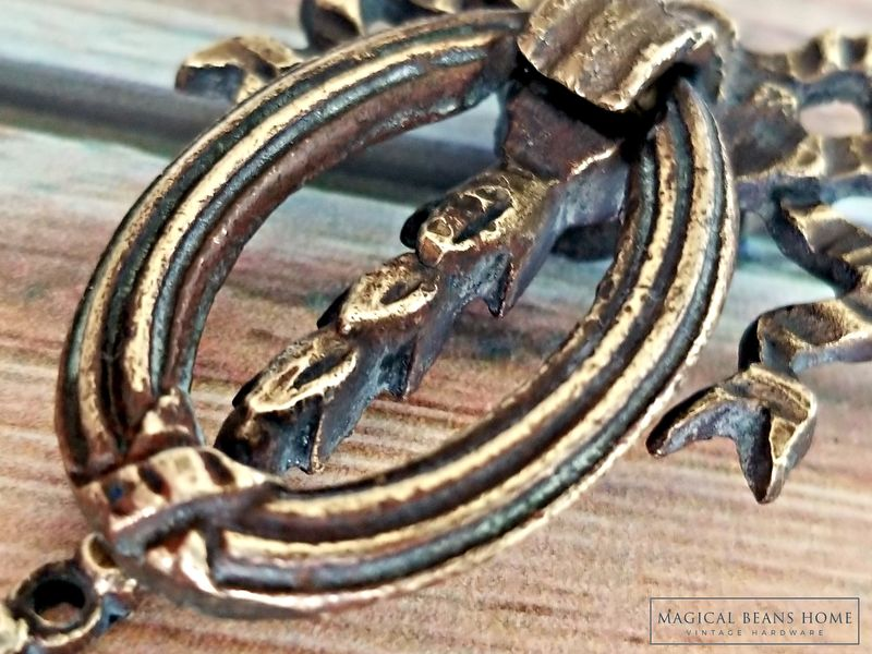 Vintage Ribbon & Bow Dark Brass Ring Pull by Keeler Brass Co  - product images  of