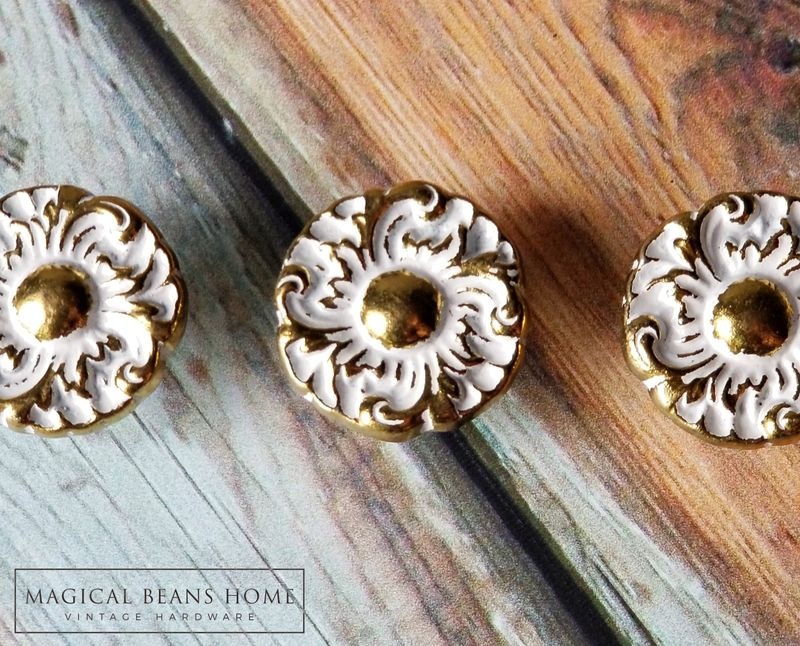 Vintage Keeler Brass Co Hollywood Regency Gold & White Floral Knobs  - product images  of