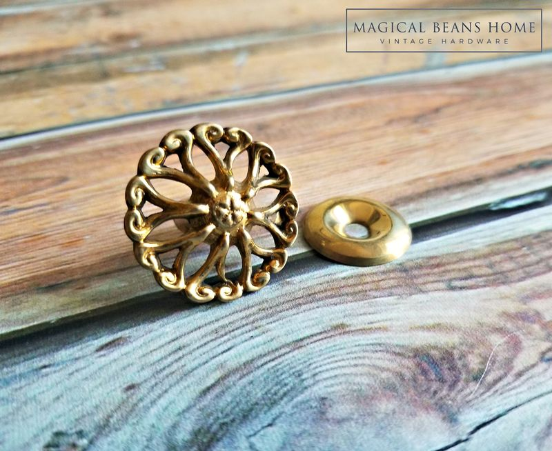 French Vintage Filigree Gold Drawer Knob in Solid Brass  - product images  of