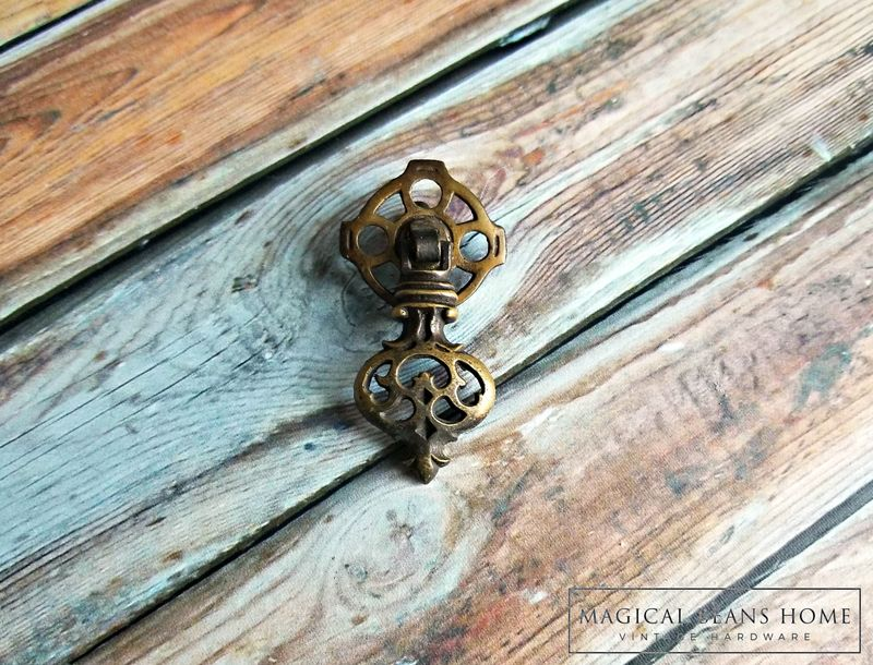 Vintage Keeler Brass Co Pendant Pull in Dark Brass  - product images  of