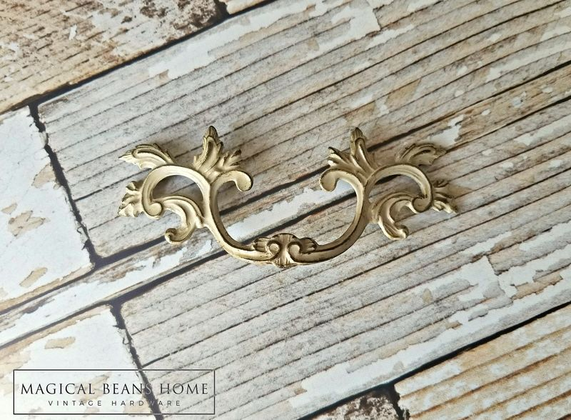 Vintage Solid Brass French Provincial Drawer Pulls in Ivory & Gold  - product images  of