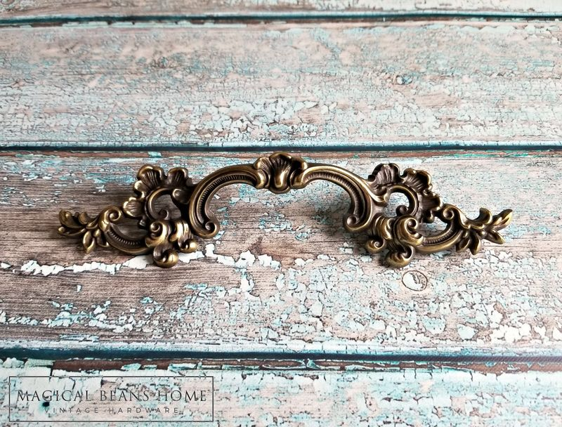 Vintage KBC French Lace Drawer Pulls in Antiqued Brass  - product images  of