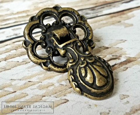 Vintage,Keeler,Brass,Co,Fancy,Rosette,&,Pendant,Pull,in,Solid,vintage hardware, furniture hardware ,antique hardware ,drawer pulls knobs, furniture pulls, pulls knobs, hardware furniture, vintage drawer pulls knobs, brass furniture hardware,  Brass Hardware, Brass Pulls, Brass Cabinet Pulls, Brass Drawer Pulls, Bras