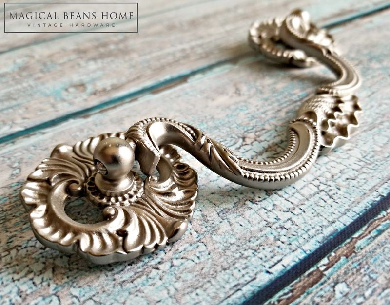 Decorative KBC Matte Silver Clam Shell Drop Bail Pull  - product images  of