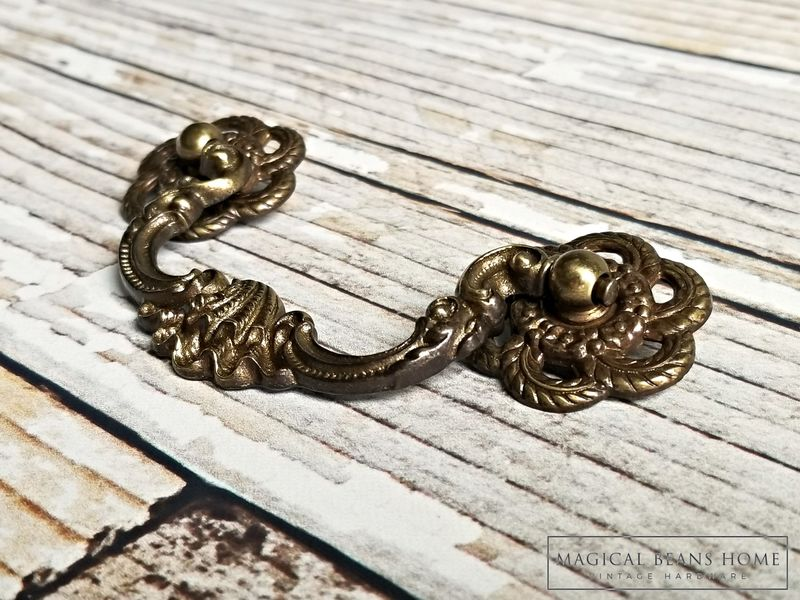Vintage Keeler Brass Co Antiqued Brass Clam Shell Drop Bail Pulls  - product images  of