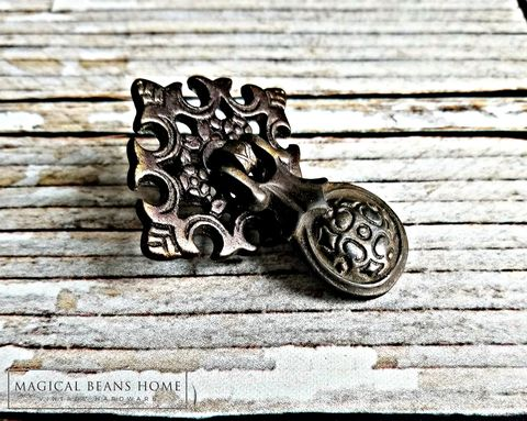 Antique,Victorian,Solid,Brass,Teardrop,Pull,in,Dark,Brown/Black,black dresser drawer handles, teardrop pulls, solid brass, brass drawer pulls, black drawer pulls, pendant drawer pulls, Victorian drawer pulls, dresser hardware, cabinet pulls, textured dresser drawer pull, Diamond rosettes