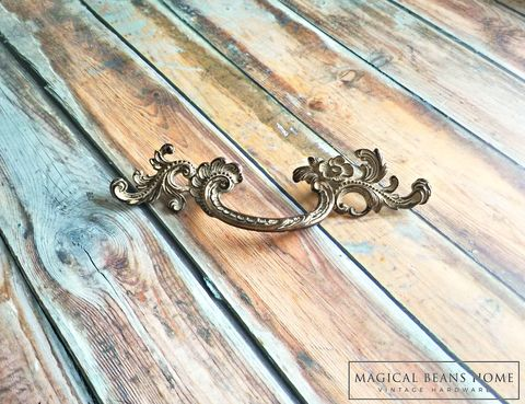 Vintage,KBC,Baroque,French,Provincial,Drawer,Pull,Handles,in,Chippy,Off,White,over,Antiqued,Brass,Vintage Drawer Pull ,French Provincial Dresser Pull ,Brass Drawer Pull ,Keeler Brass Drawer Pull Handles ,Chippy White Drawer Pulls ,Shabby Chic Drawer Pulls