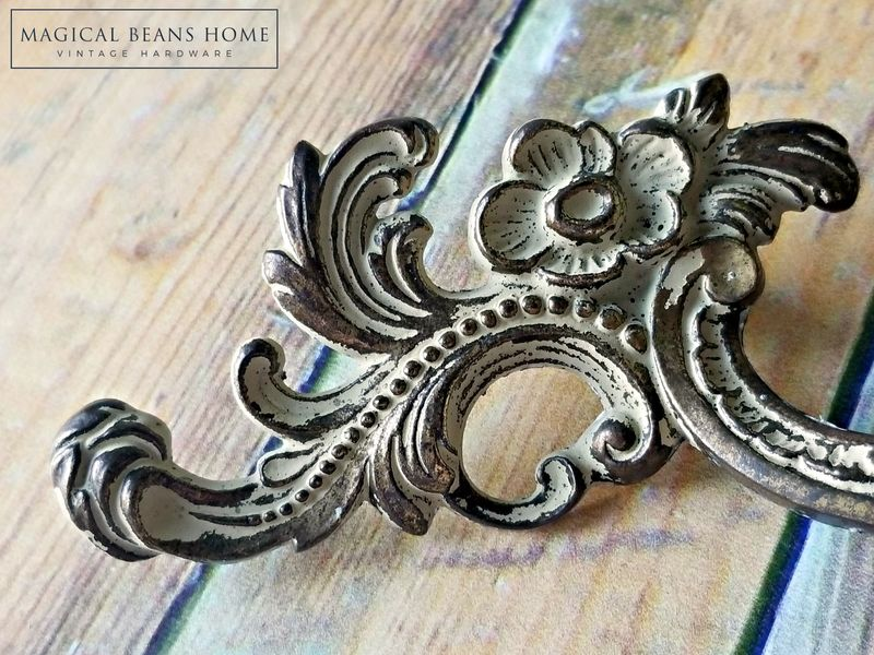 Vintage KBC Baroque French Provincial Drawer Pull Handles in Chippy Off White over Antiqued Brass  - product images  of