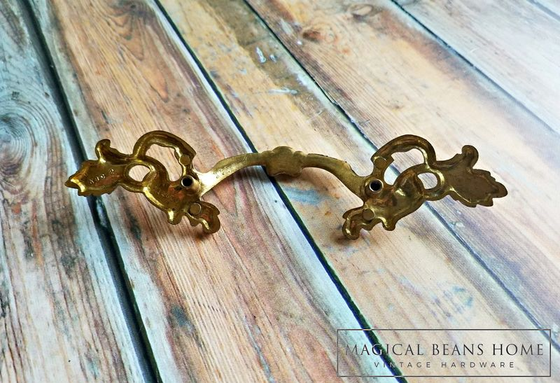 Vintage KBC Gold French Provincial Drawer Pull in Solid Brass  - product images  of