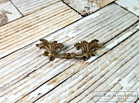 Antique,Keeler,Brass,Co,Baroque,Antiqued,Gold,French,Pull,in,Solid,Antique Drawer Pull Handles, Baroque Drawer Pulls, Cabinet Hardware, Keeler Brass Co Period Hardware ,Gold Drawer Pulls ,KBC Dresser Hardware ,Brass Drawer Pulls ,Antique Drawer Pulls ,Decorative Drawer Pulls ,French Provincial Dresser Pulls