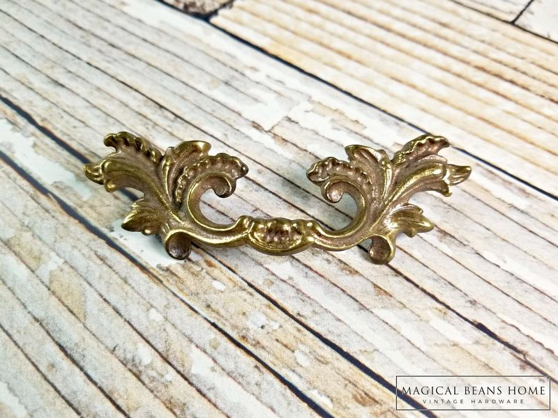 Antique Keeler Brass Co Baroque Antiqued Gold French Pull in Solid Brass  - product images  of