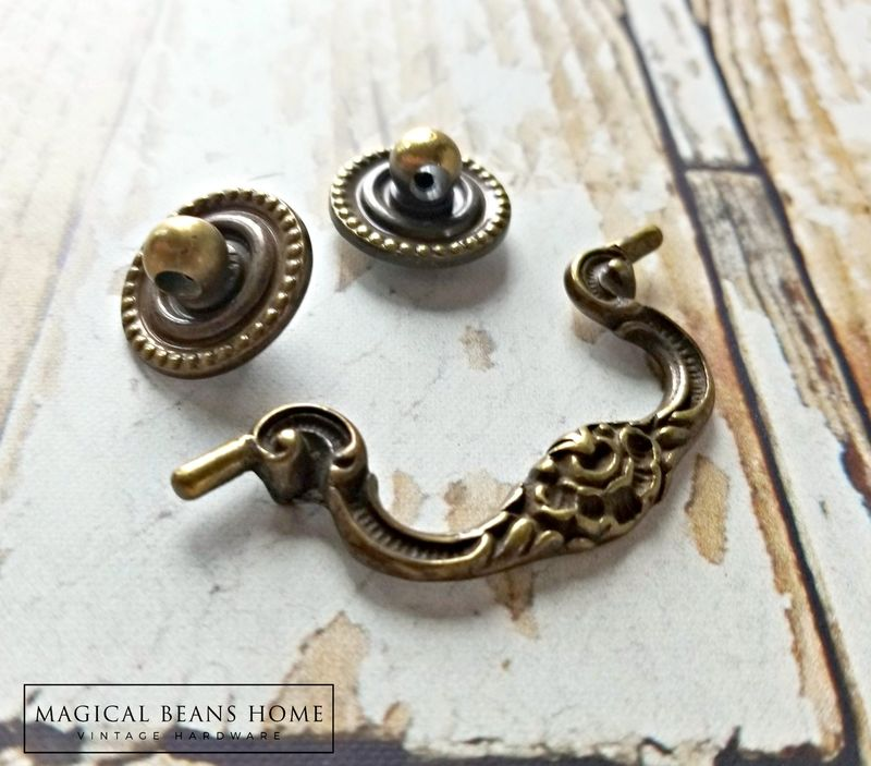 Vintage KBC Small Antiqued Gold Drop Bail Pulls in Solid Brass  - product images  of