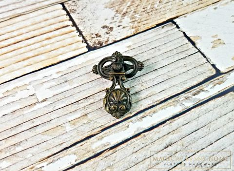 Antique,Keeler,Brass,Co,Baroque,Brown,Teardrop,Pull,in,Solid,Antique Drawer Pulls, Keeler Brass Co Period Hardware,  Baroque Pendant Pulls, Victorian Dresser Pulls, Dark Brass Teardrop Pulls, Decorative Dresser Hardware, Antiqued Brass Drawer Pulls