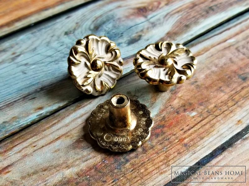 Vintage Hollywood Regency White & Gold Dresser Drawer Knobs  - product images  of