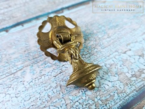 Vintage,KBC,Petite,Bell,Shape,Gold,Teardrop,Pull,w/Rosette,in,Solid,Brass,Petite Gold Teardrop Drawer Pull Keeler Brass Co, Brass Drawer Pull, Victorian Drawer Pull, Antique Drawer Pull, Furniture Pulls, Decorative Drawer Pull Handles, Gold Drawer Pulls, Pendant Pulls, KBC Period Hardware