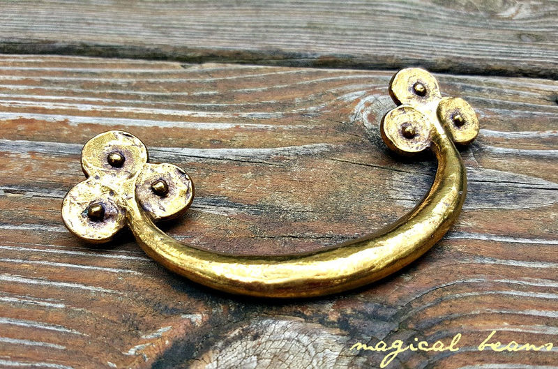 Vintage Keeler Brass Co Gold Primitive Drawer Pull in Solid Brass  - product images  of