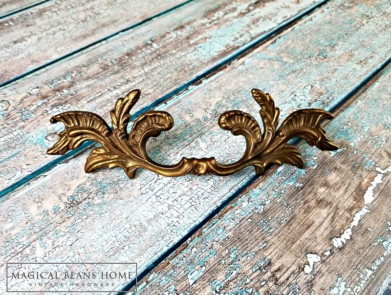 Vintage KBC Gold French Provincial Drawer Pull Handles in Solid Brass  - product images  of