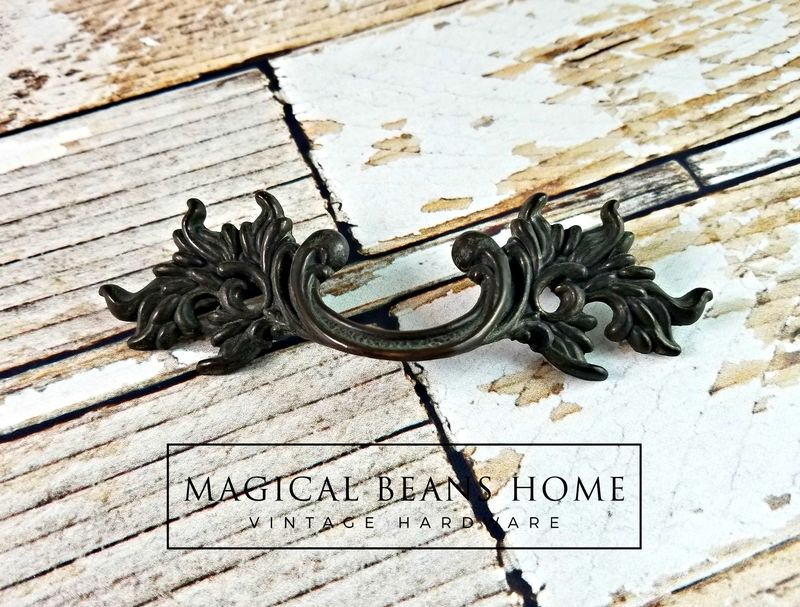 French Vintage Antiqued Brass Drawer Pull Handles  - product images  of