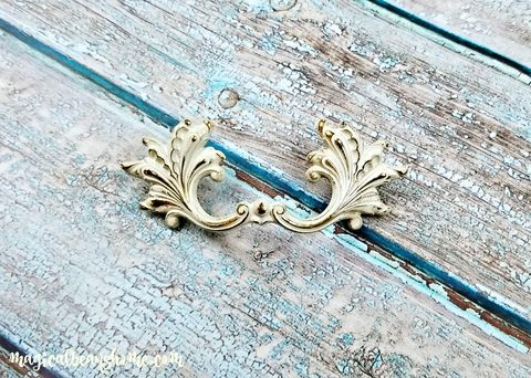 Vintage,Ivory,&,Gold,French,Provincial,Leafy,Drawer,Pulls,Ivory & Gold Drawer Pulls, Vintage Drawer Pulls, French Provincial Drawer Pulls, French Vintage Ivory Pulls, Dresser Hardware, Small Drawer Pulls
