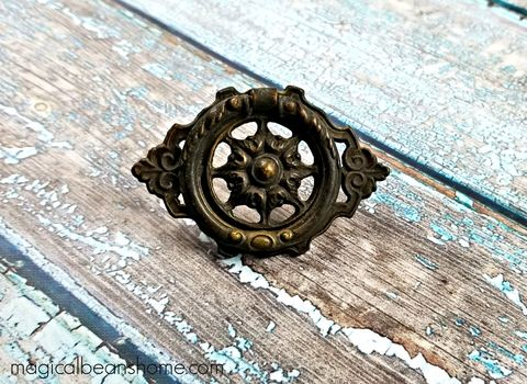 Vintage,KBC,Baroque,Solid,Brass,Ring,Pull,in,Dark,Brown,vintage drawer pull, keeler brass co drawer pulls, knc drawer pull handle, dark brown drawer pull, cabinet pull, period hardware, kbc brass ring pull, ring pull, solid brass hardware, vintage drawer pulls