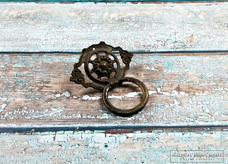 Vintage KBC Baroque Brass Ring Pull in Dark Brown  - product images  of