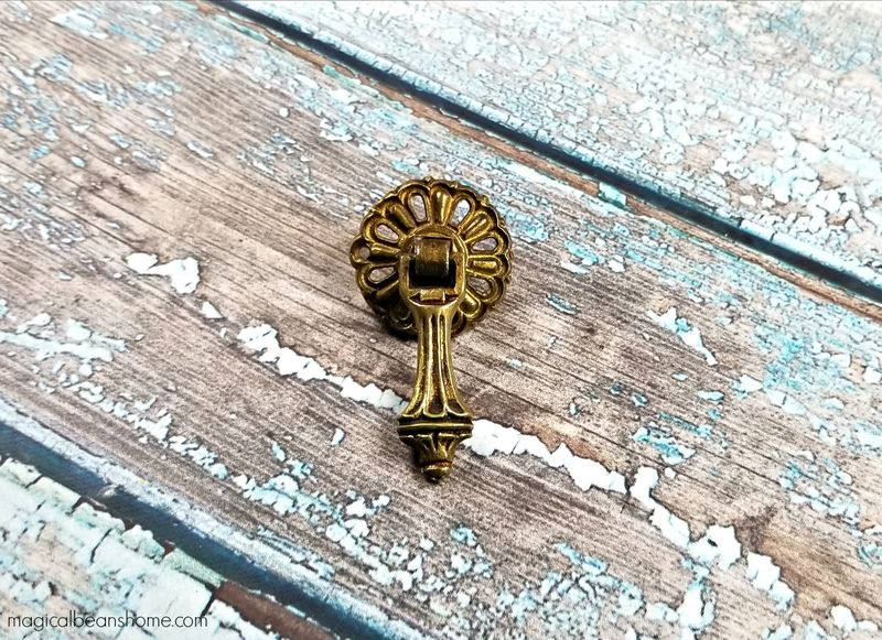 Vintage Antiqued Brass Teardrop Pulls in Solid Brass - product images  of
