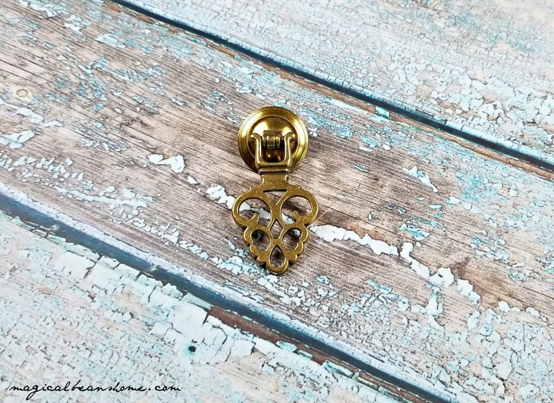 Vintage, Keeler Brass Co. Gold Filigree, Pendant Pull in Solid Brass  - product images  of