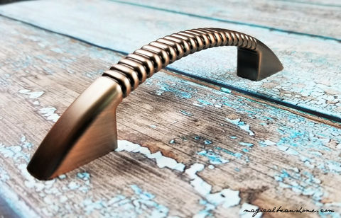 Decorative,Weathered,Copper,Fluted,Drawer,Pull,Handles,Dresser Hardware, Decorative Drawer Pulls, Kitchen Cabinet Pulls ,Weathered Copper Drawer Pull ,Distressed Copper Drawer Pull Handle ,Copper Fluted Pull ,Industrial Farmhouse Dresser Pull ,Rose Gold Drawer Pull