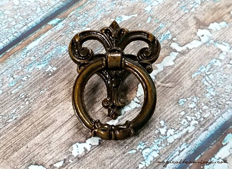 Vintage Keeler Brass Co Decorative Dark Brass Ring Pulls  - product images  of