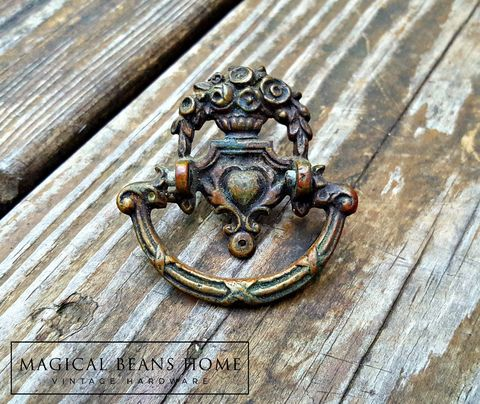 Vintage,Keeler,Brass,Co,Dark,Brown,Roses,Urn,&,Heart,Ring,Pull,in,Solid,KBC Period hardware, Keeler Brass Co Dresser Hardware, Vintage Roses & Heart Ring Pull, Renaissance Furniture Pulls, Victorian Dresser Pulls, Baroque Cabinet Pulls, Brass Drawer Pulls Handles, Cabinet Hutch Buffet Pulls