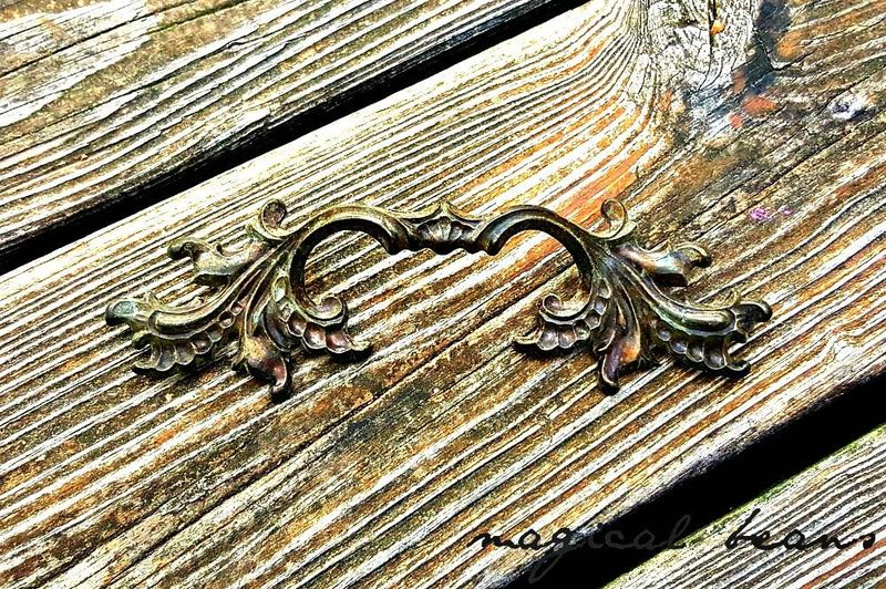 Petite Vintage French Provincial Dark Brass Winged Drawer Pull Handle  - product images  of