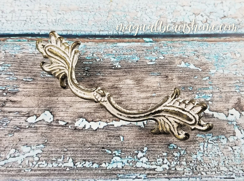 Vintage White & Gold French Provincial Drawer Pull Handles  - product images  of