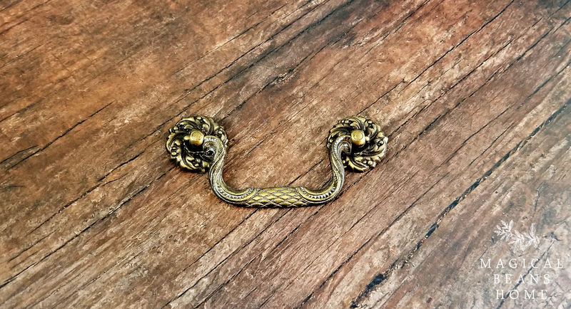 Antique Keeler Brass Co Victorian Antiqued Gold Drop Bail Pulls in Solid Brass - product images  of