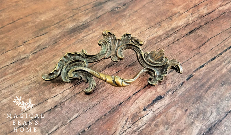 Vintage Keeler Brass Co Antiqued Gold French Provincial Drawer Pull Handles in Solid Brass  - product images  of