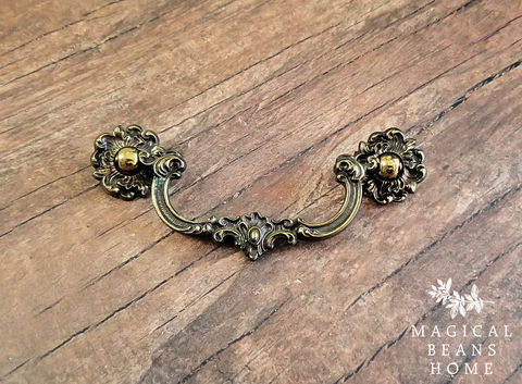 Vintage,Keeler,Brass,Co,Petite,Baroque,Antiqued,Drop,Bail,Pull,Vintage drop bail pulls, keeler brass drawer pulls, keeler brass company, antiqued brass drawer pull handles, baroque drop bail pulls, antiqued gold drawer pulls, solid brass dresser hardware, ornate petite cabinet pulls