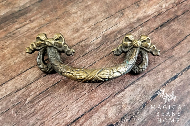 Antique Keeler Brass Co Small Antiqued Gold Ribbon, Bow & Wreath Drawer Pull Handles in Solid Brass  - product images  of
