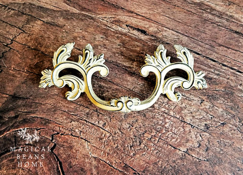 Vintage,KBC,French,Provincial,Pulls,in,Various,Finishes,,Solid,Brass,,Inward-Facing,Leaf,vintage drawer pulls, dresser hardware, white leaf pull, keeler brass co, leaf flair pull, white and gold drawer pull, winged dresser pull, french provincial drawer pulls